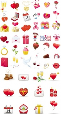 valentine day elements vector