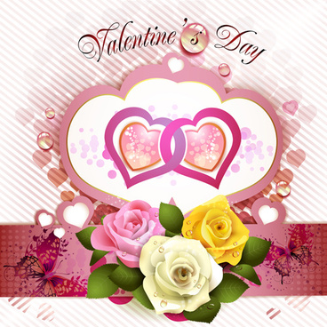 valentine day flowers with heart vectors