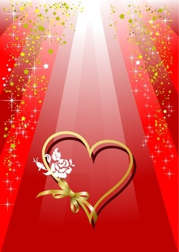 valentine day heartshaped and colorful ribbons vector background