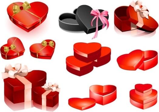 valentine day heartshaped gift box vector