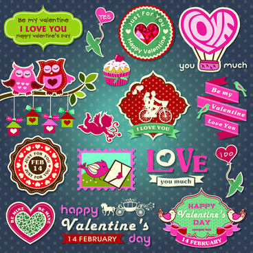 valentine day ornament and labels vector set