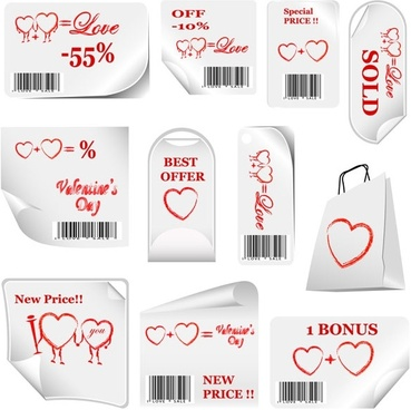 valentine day promotional label vector