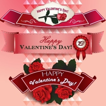 valentine day ribbon banner creative vector