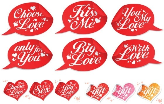 valentine day special stickers vector