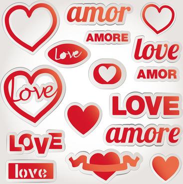 valentine elements stickers vector