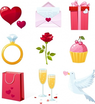 valentines design elements modern multicolored symbols sketch