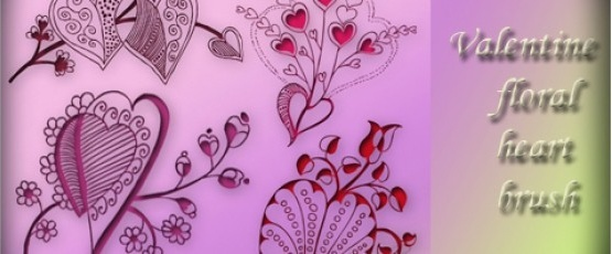 Valentine Floral Decorative Heart Brushes