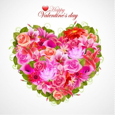 valentine flowers background rose petals vector