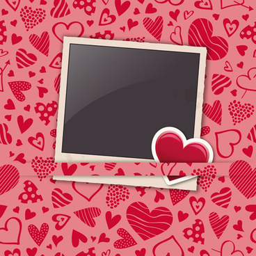 valentine heart photo frame background vector