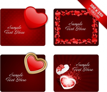 valentine card templates romantic red heart decor