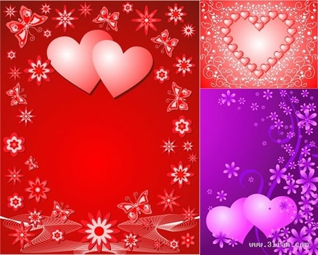 valentines background templates sparkling colored hearts flower decor
