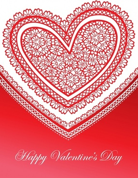 valentine hearts background love lace vector greeting card