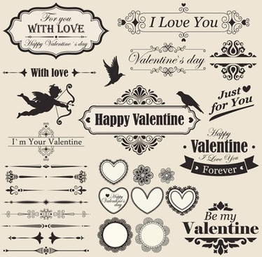 valentine lace elements vector