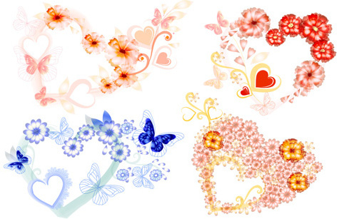 valentine love backgrounds vector set
