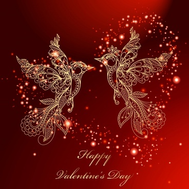 valentine love birds background vector