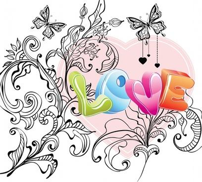 valentine love butterfly pattern vector