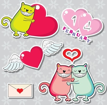 valentine love letters vector lace elements animals