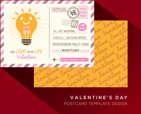 valentine postcard template elegant design