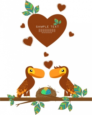 valentine poster hearts birds couple icons cartoon design