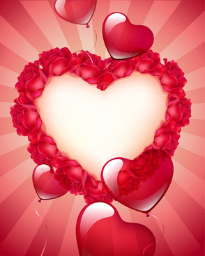 valentine red heart background creative vector