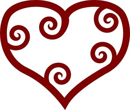 Valentine Red Maori Heart clip art