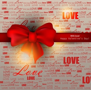 valentine red ribbon bow vector
