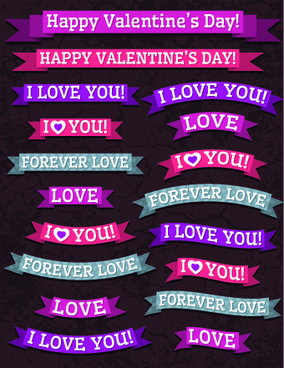 valentine ribbon banner design vector