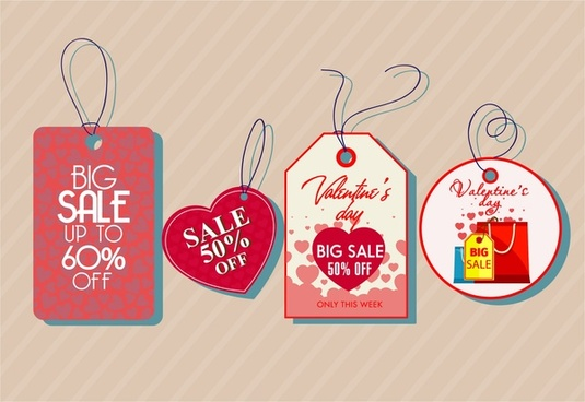 valentine sale tags sets various shapes romantic style