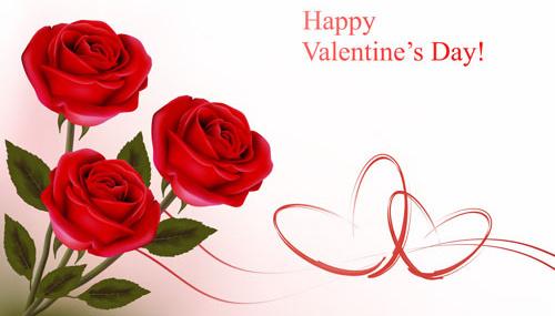 valentine theme elements vector background set