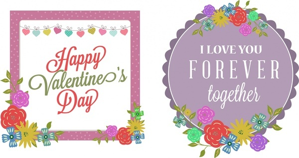 valentine theme sets colorful design on geometric frames