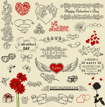 valentine vintage ornaments design elements vector
