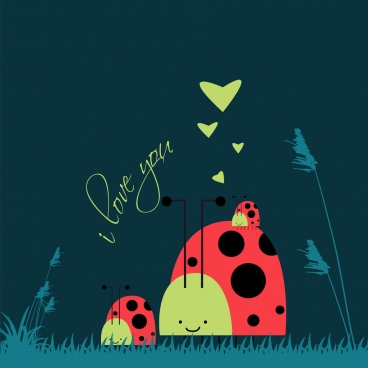 valentines card background hearts stylized bug icons