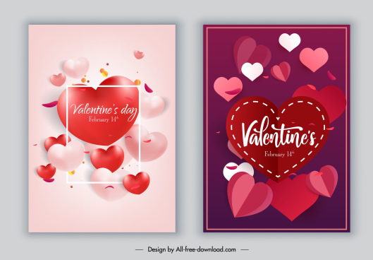 valentines card cover template colorful heart shapes decor