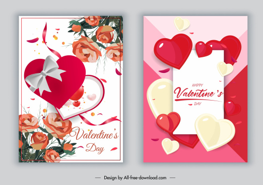 valentines card templates modern floral hearts decor