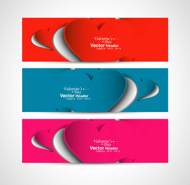 valentines day bright colorful header vector white background