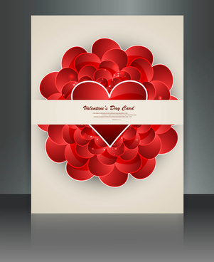 valentines day card heart reflection brochure template background vector illustration