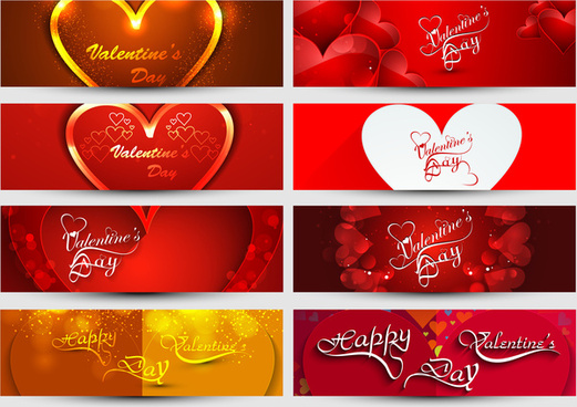 valentines day colorful hearts headers presentation collection set vector design