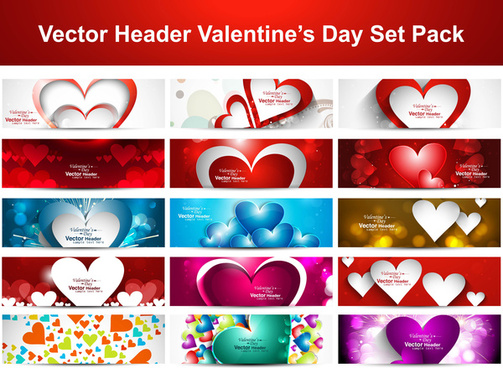 valentines day colorful shiny hearts presentation headers collection background set vector