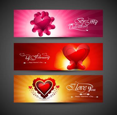 valentines day design red header background hearts set vector illustration
