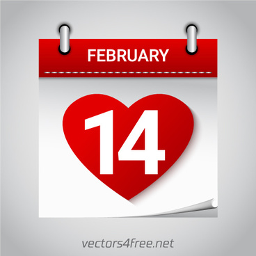 valentines day february 14 heart calendar icon vector
