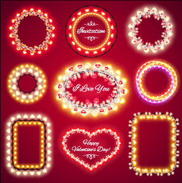 valentines day light frames vector set