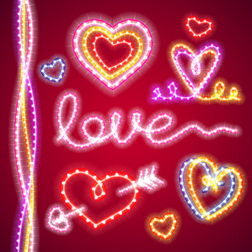 valentines day love elements with lights vector