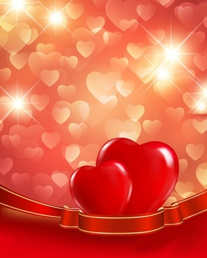 valentines day red love background vector illustration