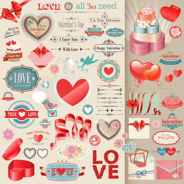 valentines day retro elements vectors