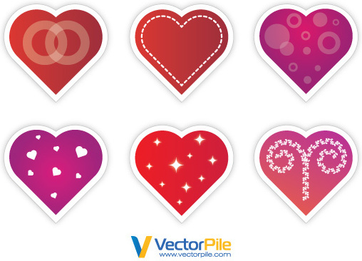 valentines day vector stickers