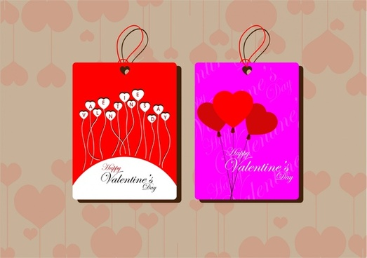 valentines decorative tags design on hearts background