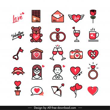 valentines design elements classical flat symbols sketch
