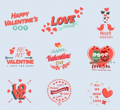 valentines icons sets design in red color
