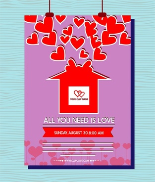 valentines leaflet design hearts decoration on violet background