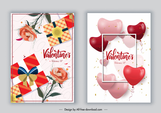 valentines poster templates modern bright floras gifts hearts